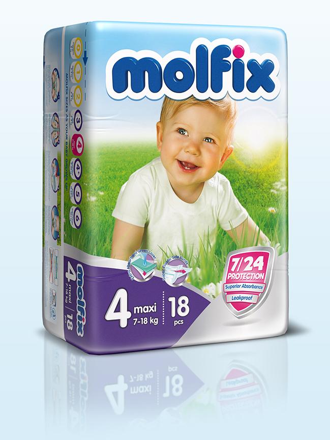 Molfix Подгузники Макси 7-18 кг 18 шт