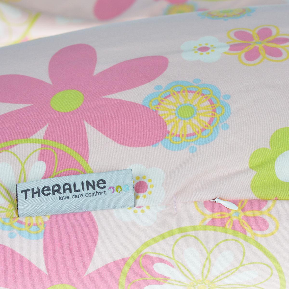 """Подушка для кормления Theraline """"Цветы"""", цвет: розовый, 190 см х 38 см"""