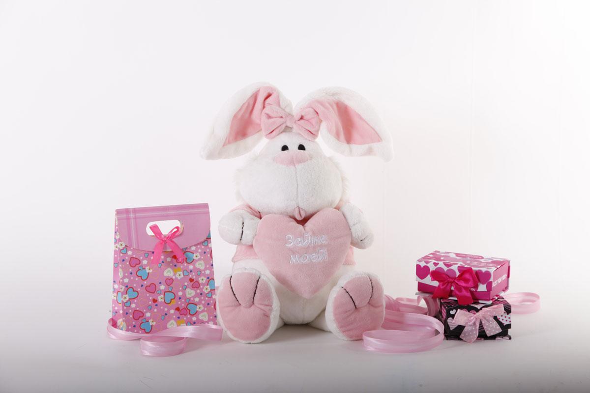 """Кролик сидячий с сердечком """"Зайке моей"""", 40 см - 2"""