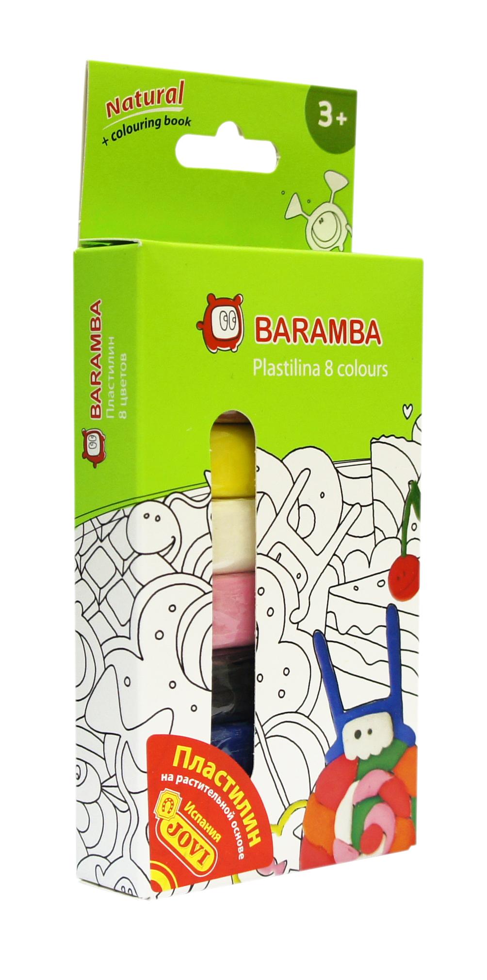 """Пластилин на натуральной основе """"Baramba"""", 8 цветов, с раскраской"""