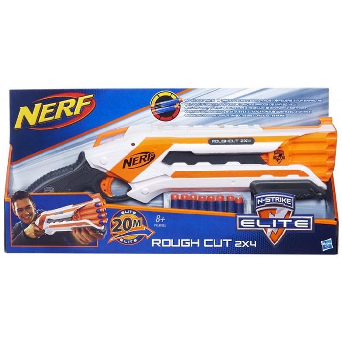 """Nerf Бластер """"Rough Cut 2х4"""", с патронами, цвет: белый, оранжевый"""