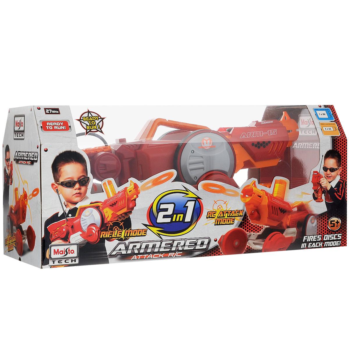 Радиоуправляемая игрушка-трансформер Maisto `Armered Attack`, бластер-вездеход