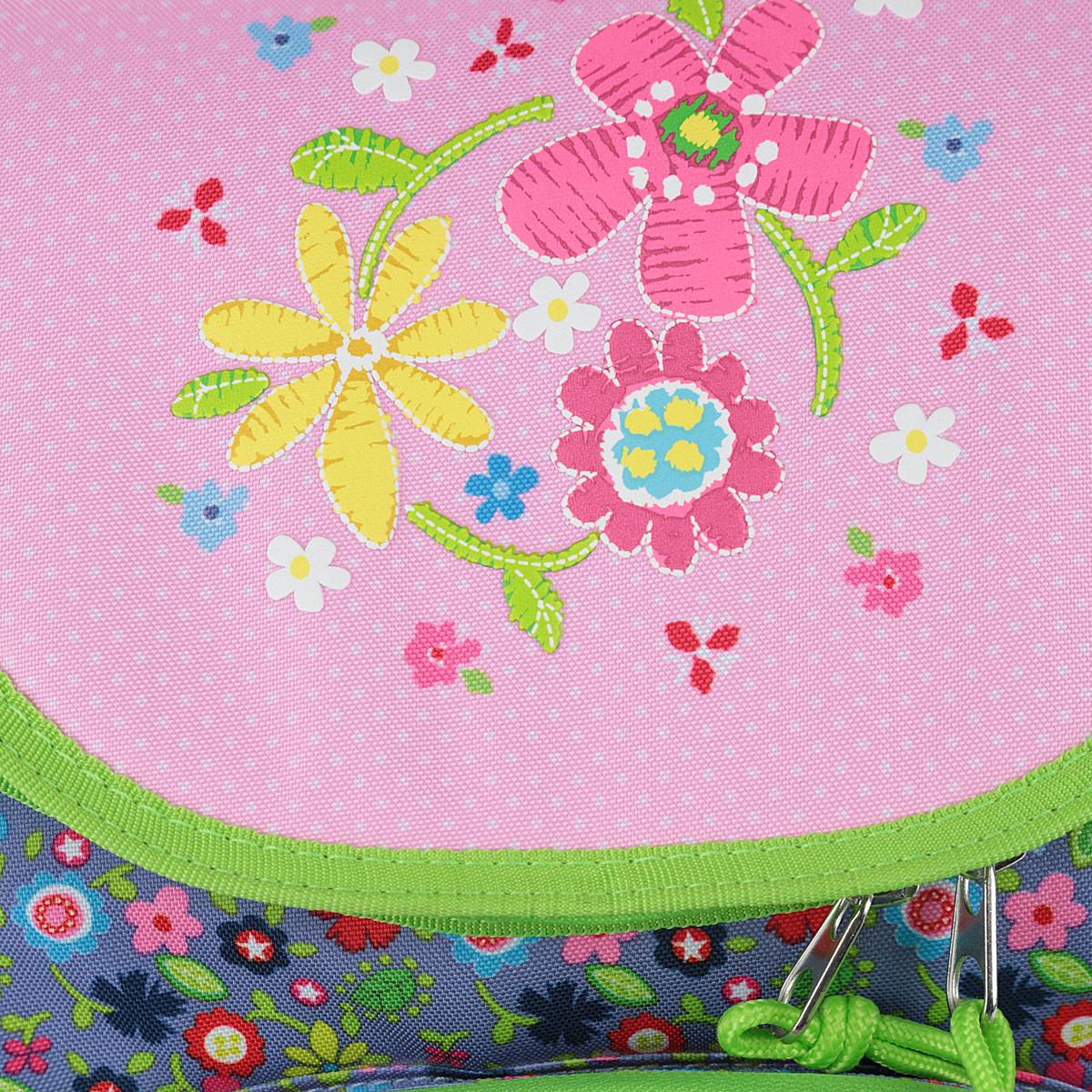 "Ранец школьный Erich Krause ""Flower Dance"", модель Prime, цвет: серый, розовый, салатовый"