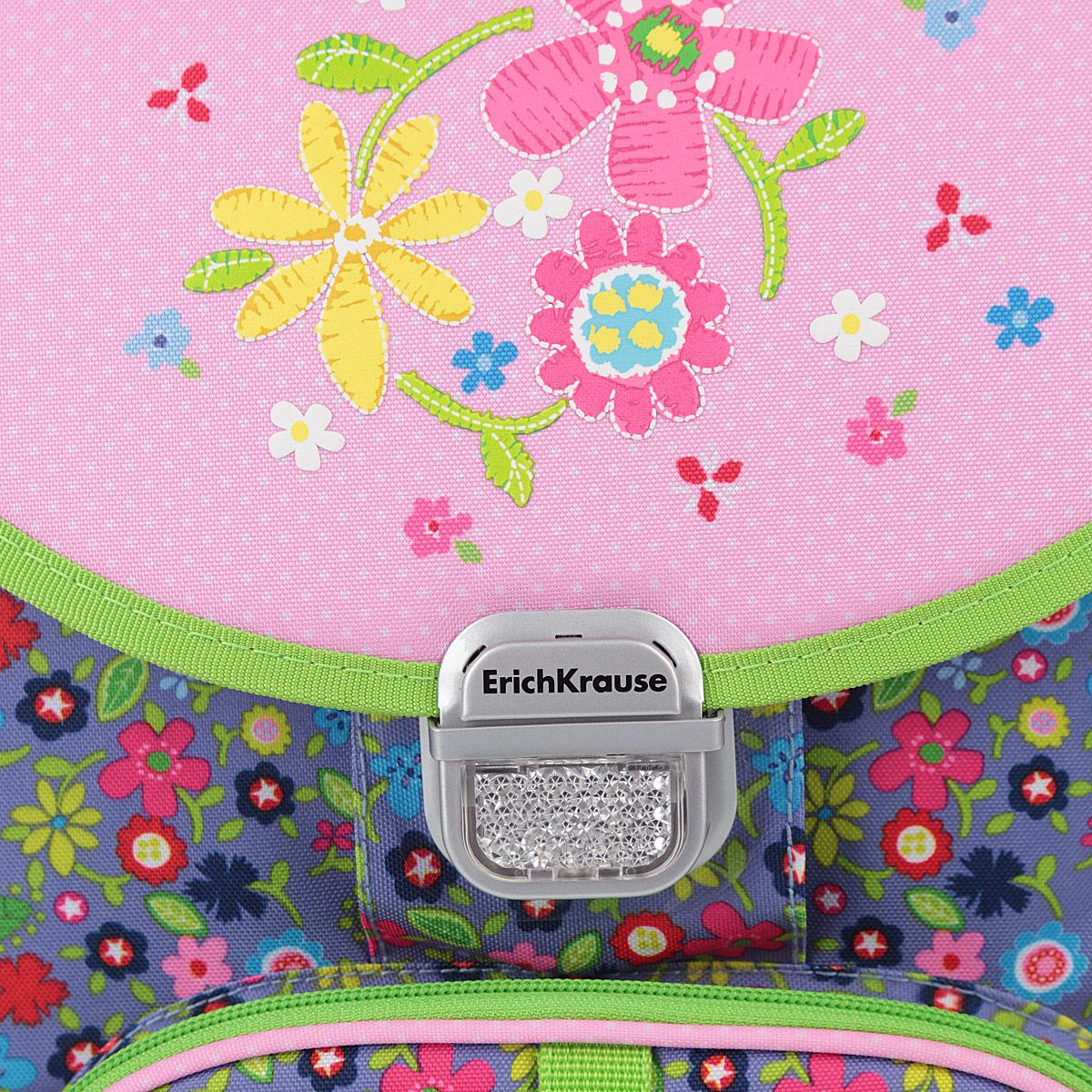 "Ранец школьный Erich Krause ""Flower Dance"", модель Generic"", цвет: серый, розовый, салатовый"