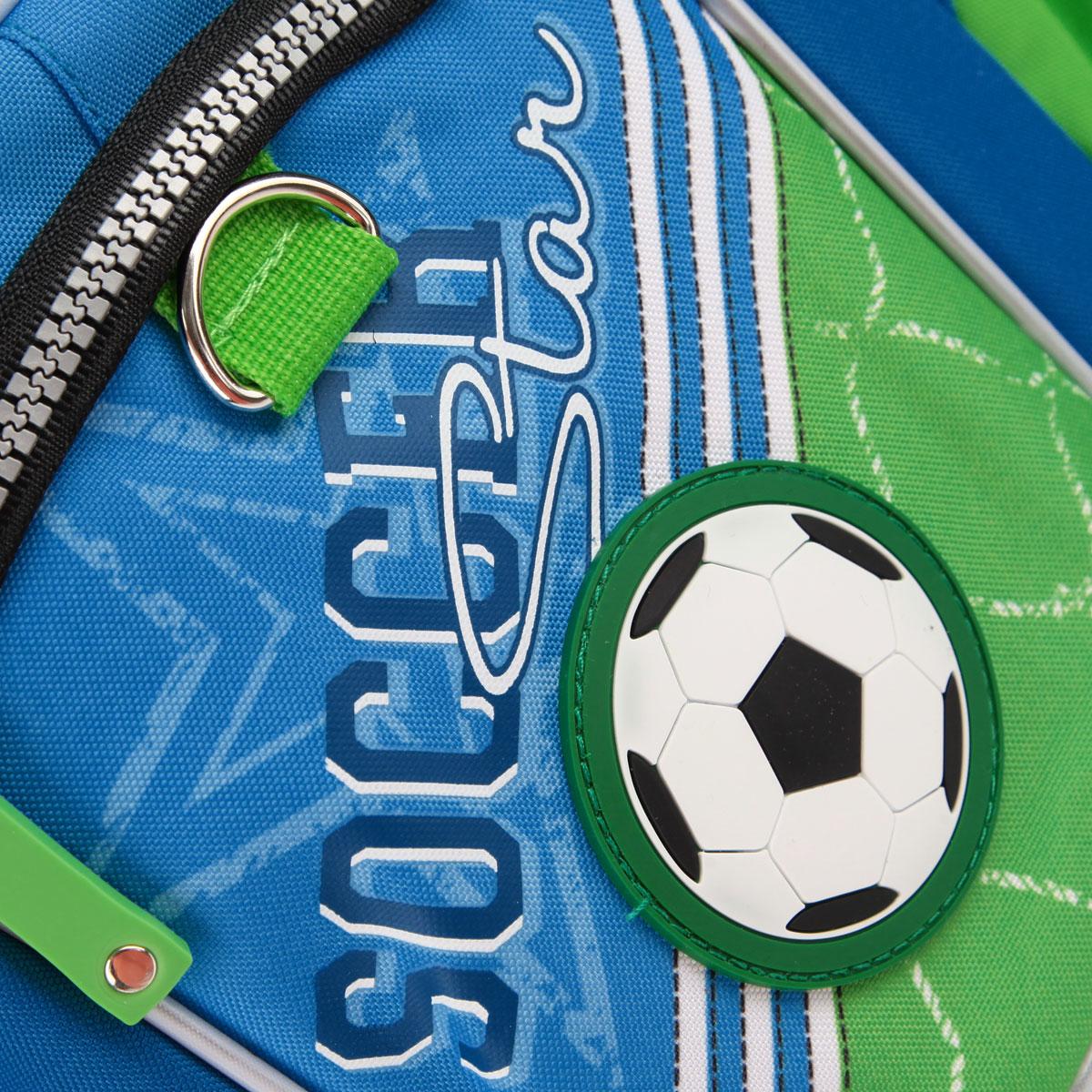 """Рюкзак школьный Erich Krause """"Футбол"""", цвет: голубой, салатовый"""