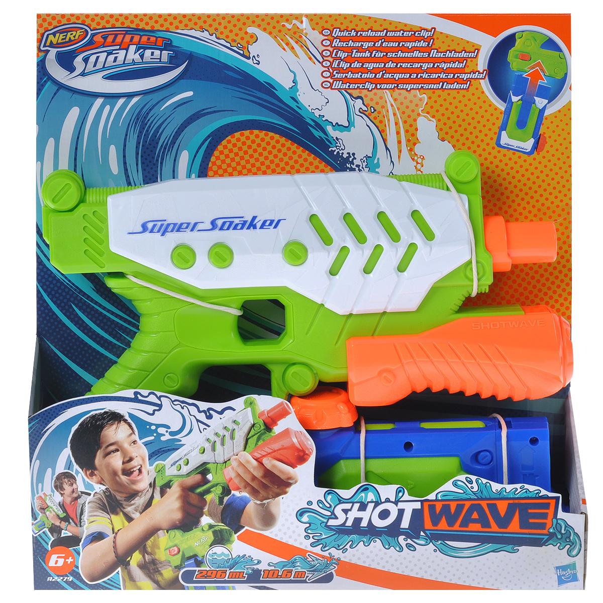 """Водный бластер Nerf """"Super Soaker. Short Wave"""", цвет: салатовый, белый, оранжевый"""