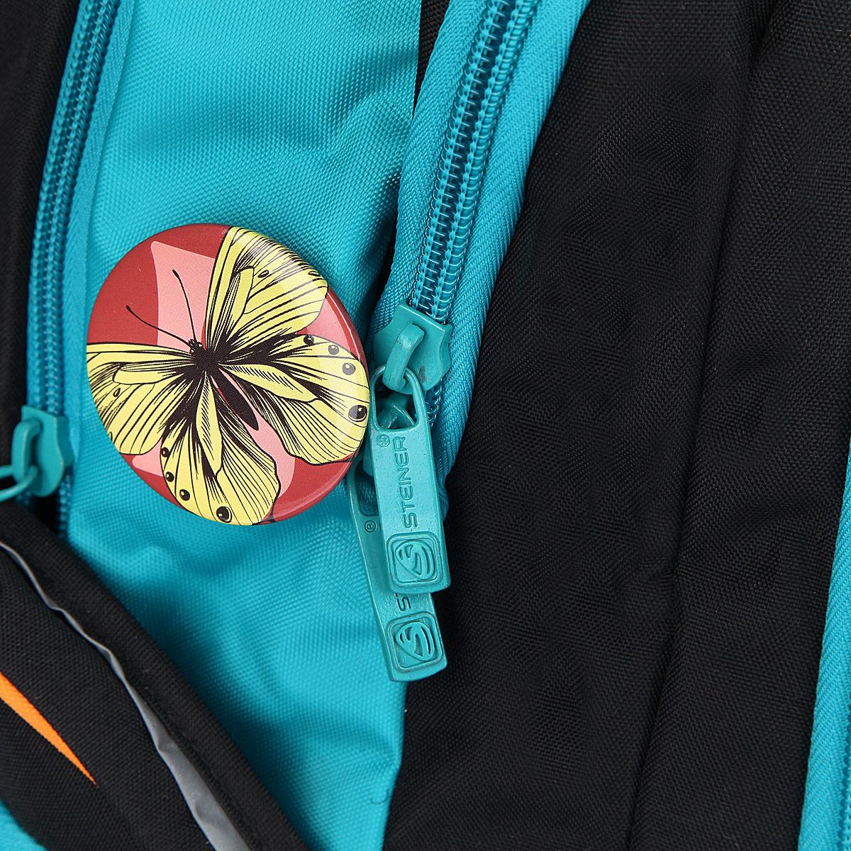 """Рюкзак школьный Steiner """"BEAUTY"""", цвет: черный, бирюзовый. 12-252-153"""