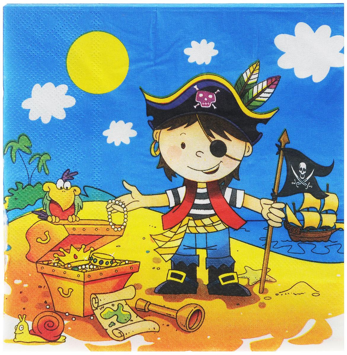 """Веселая затея Салфетки """"Маленький пират"""", трехслойные, 12 шт"""