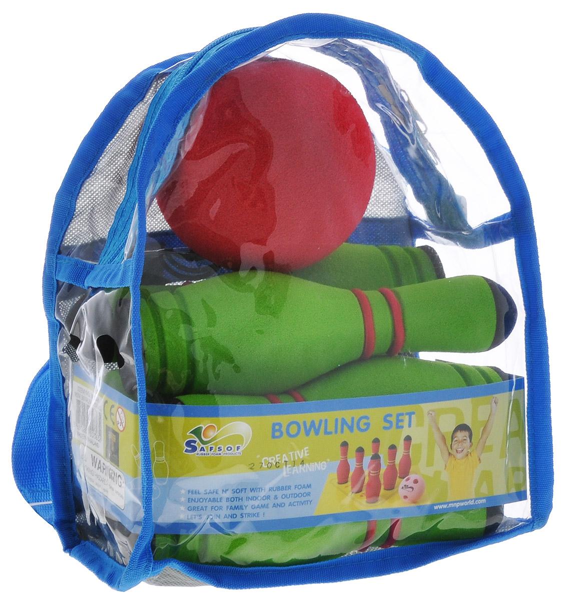 """Safsof Игровой набор """"Мини-боулинг"""", цвет: зеленый, красный, диаметр шара 9 см"""
