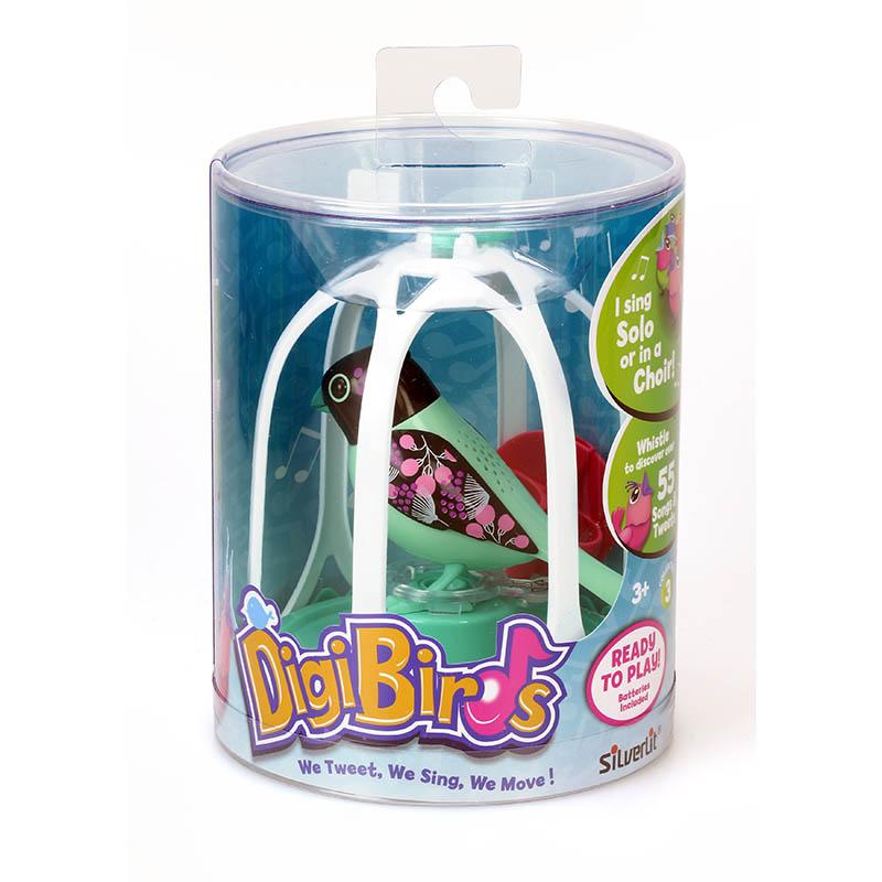 DigiBirds Интерактивная игрушка Птичка в клетке цвет зеленый черный