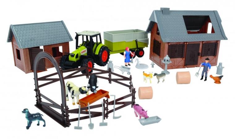 DICKIE Набор `Ферма`, 72 предмета, трактор со свободным ходом