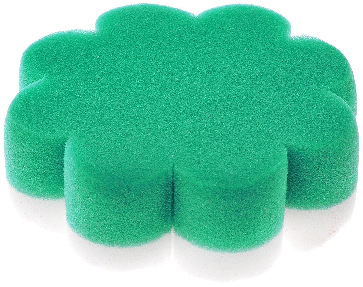 Курносики Мочалка с массажным слоем Цветок цвет зеленый белый