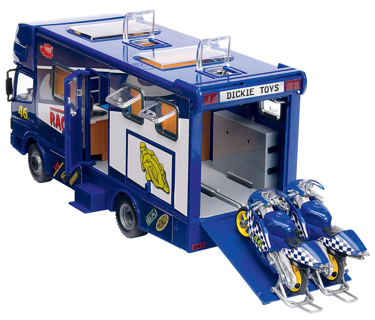Dickie Toys Трейлер для мотогонок c 2 мотоциклами цвет синий