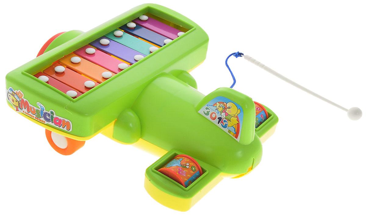 S+S Toys Музыкальная игрушка Ксилофон Самолет цвет салатовый