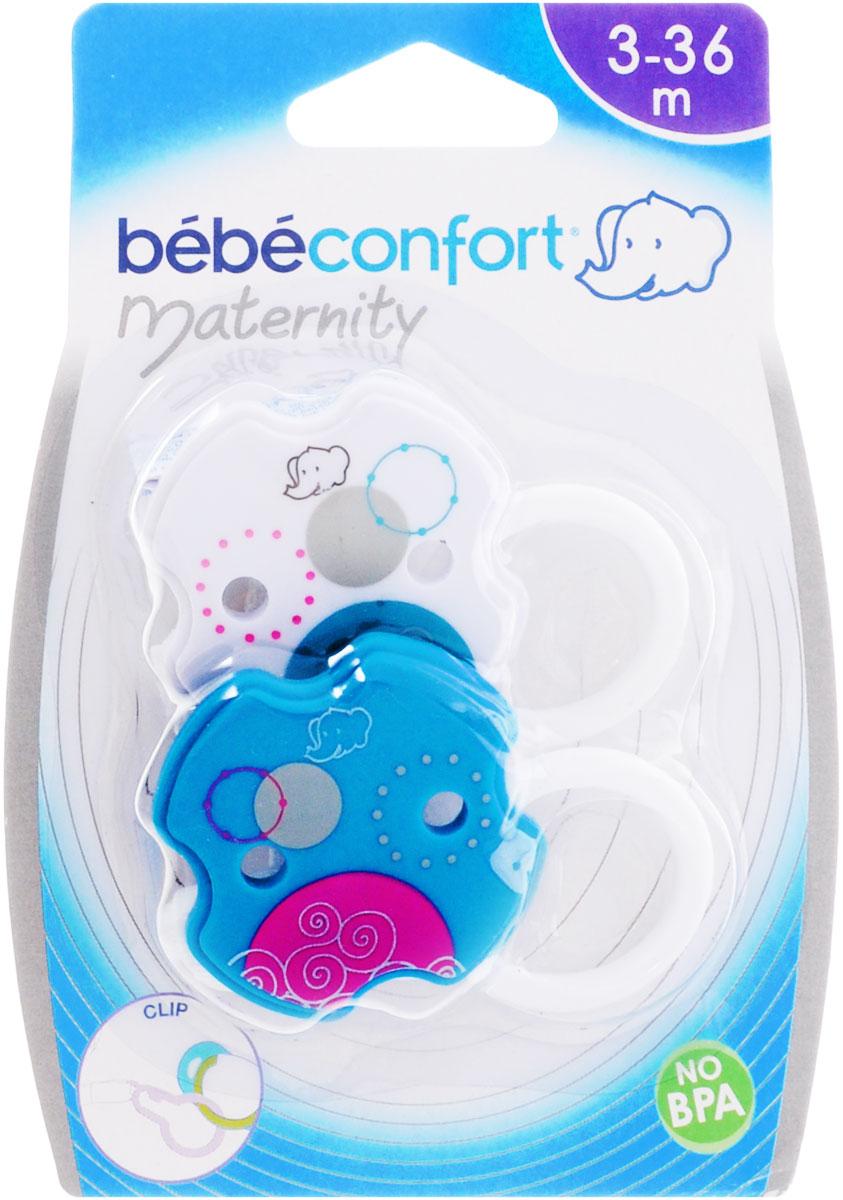 Bebe Confort Клипса для пустышки цвет белый бирюзовый 2 шт