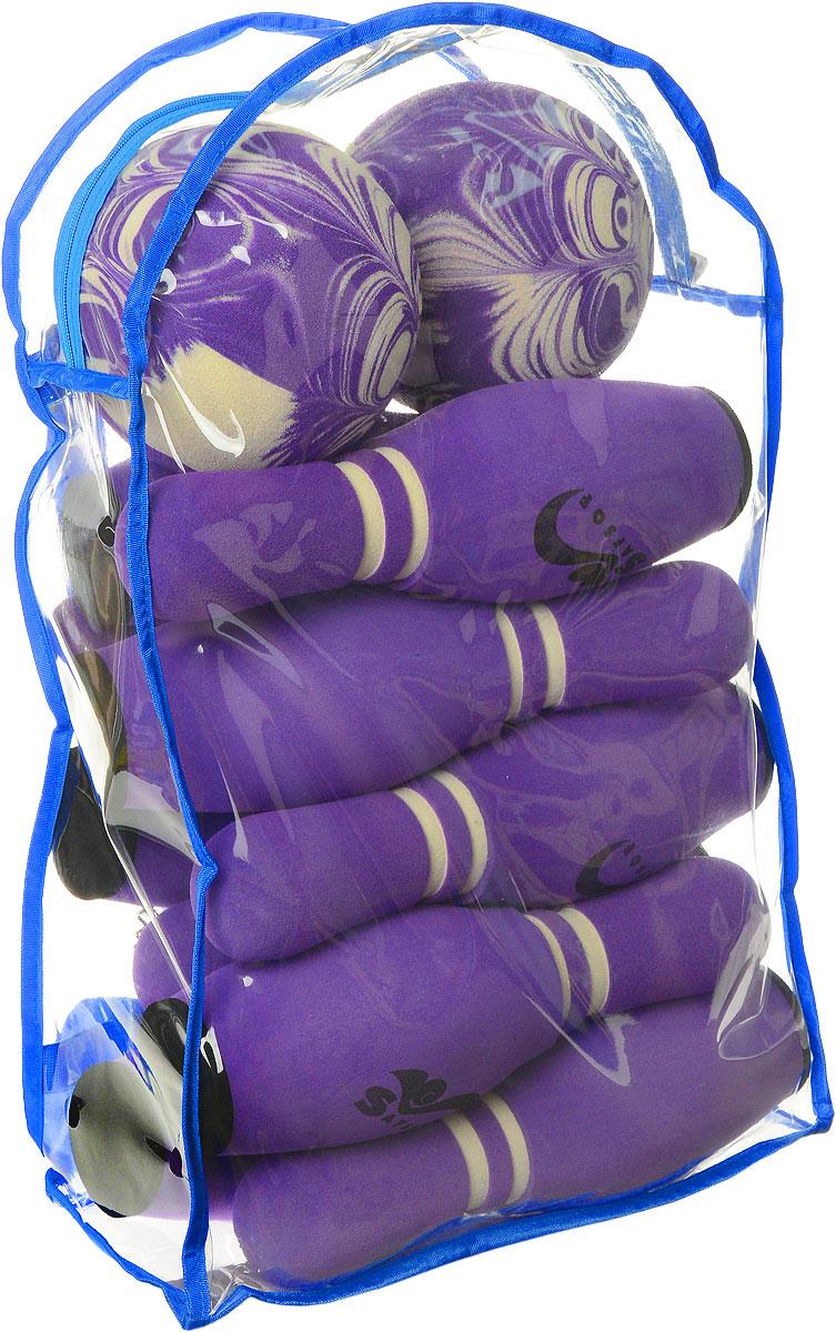 Safsof Игровой набор Боулинг цвет фиолетовый диаметр шара 15,5 см