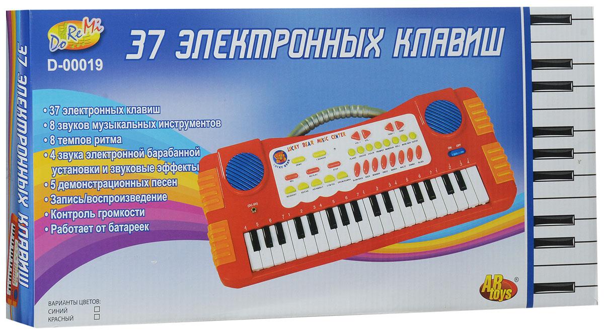 ABtoys Синтезатор DoReMi 37 клавиш цвет красный
