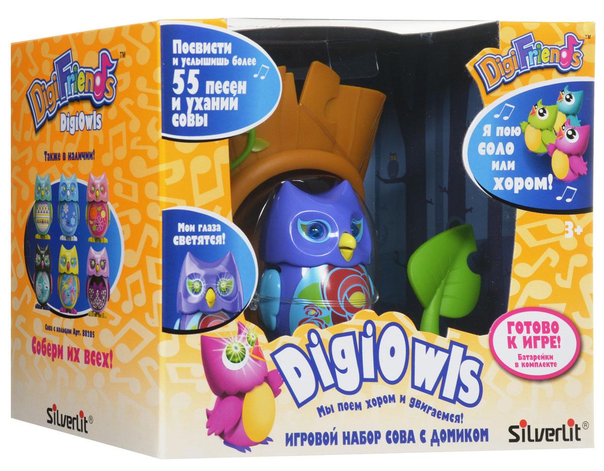 DigiFriends Интерактивная игрушка Сова с домиком цвет фиолетовый голубой