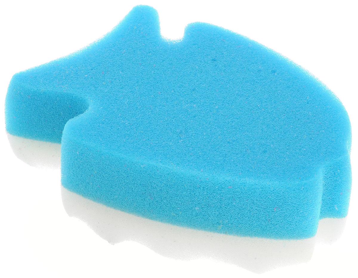 Курносики Мочалка с массажным слоем Рыбка цвет голубой белый