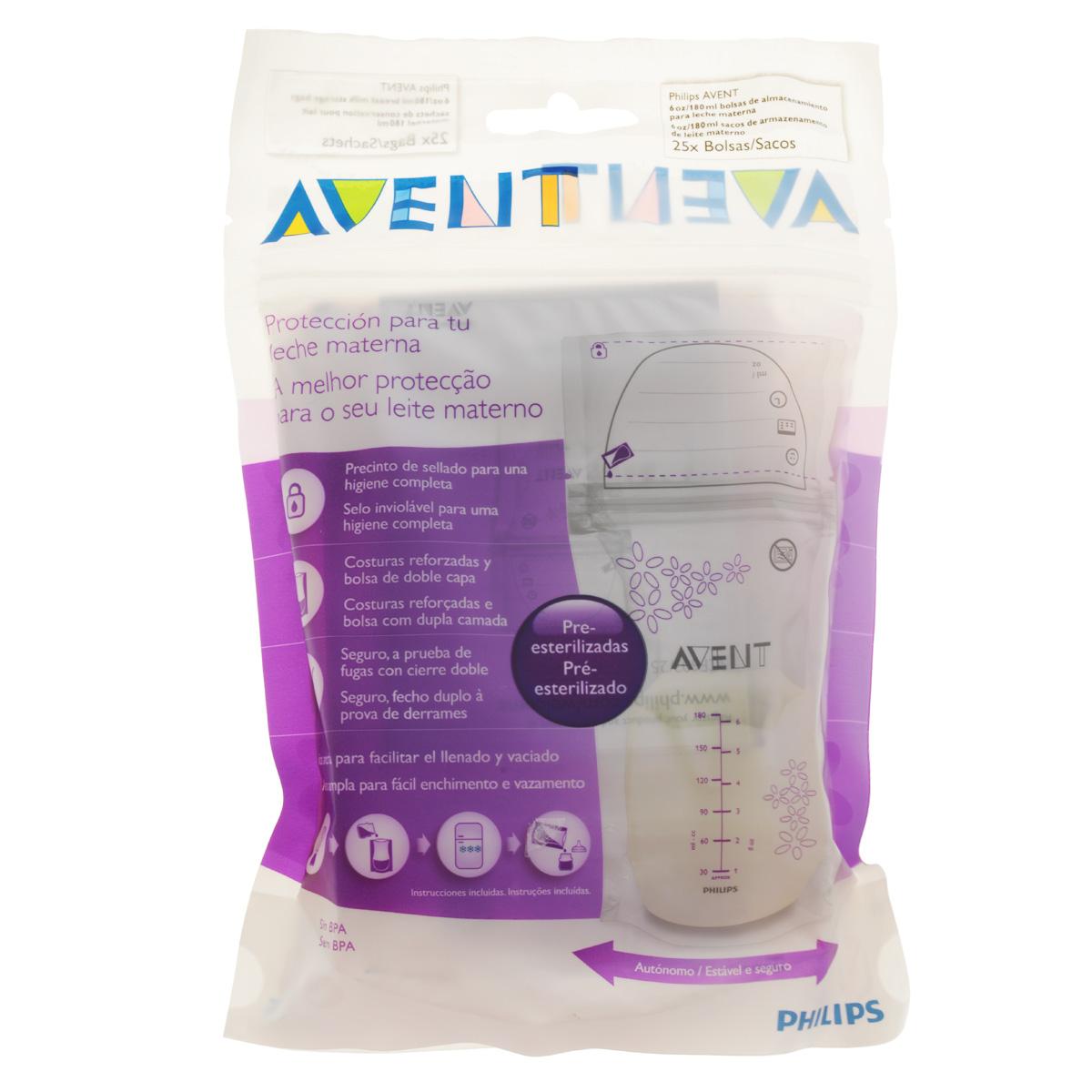 Philips Avent Пакеты для хранения молока, 180 мл, 25 шт SCF603/25