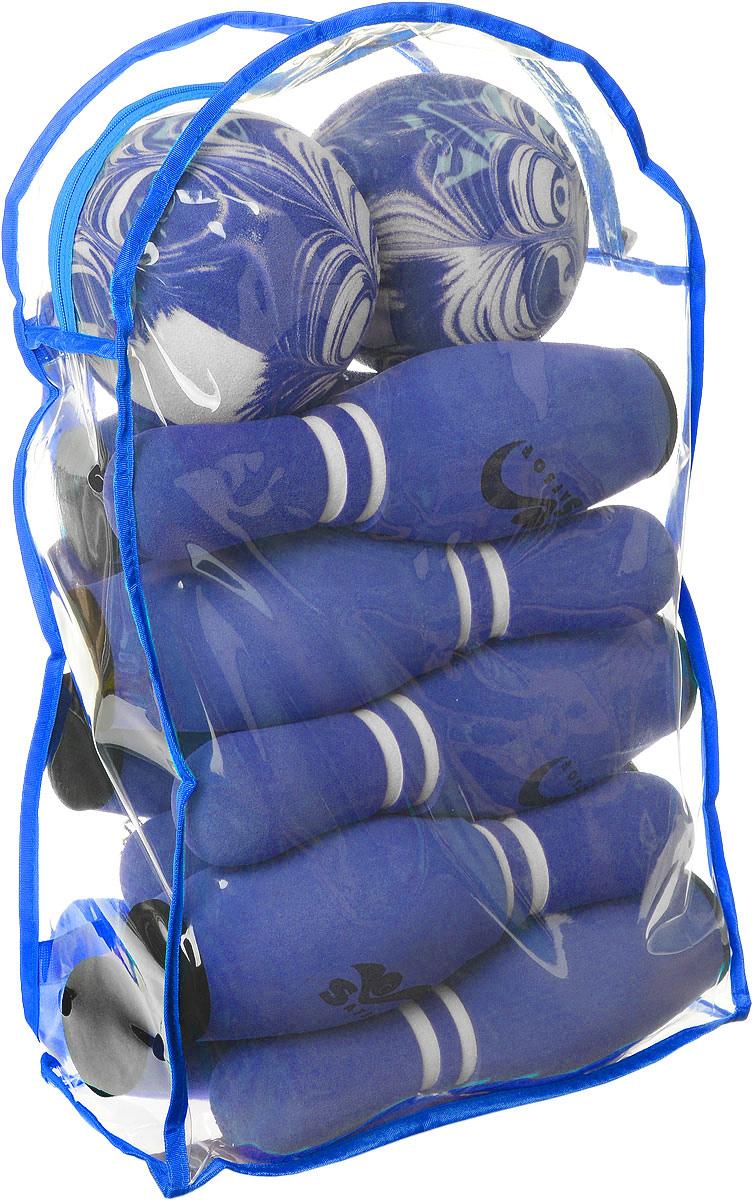 Safsof Игровой набор Боулинг цвет белый синий диаметр шара 14 см