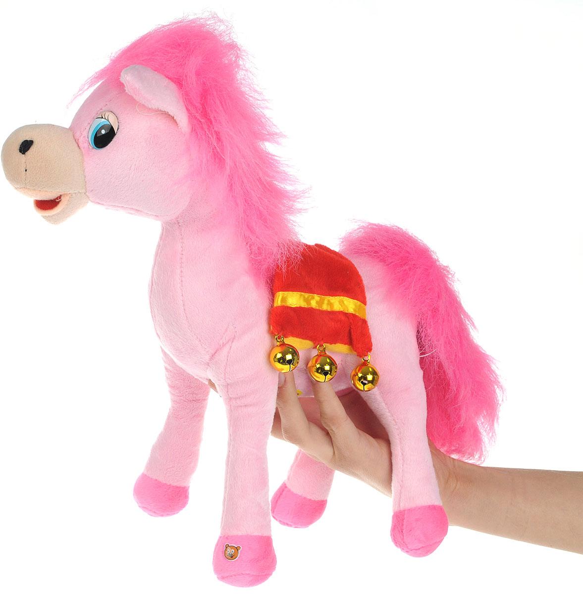 Мульти-Пульти Мягкая озвученная игрушка Лошадка цвет розовый 30 см