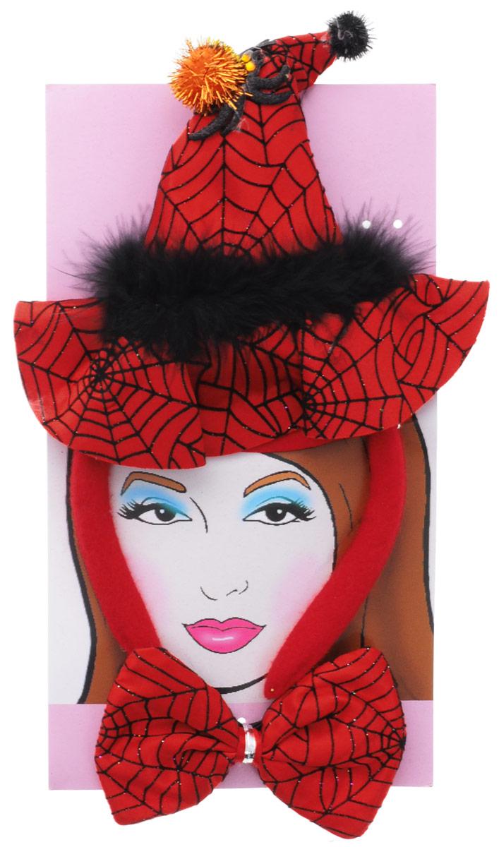 Partymania Ободок Шляпа Ведьмочки с бабочкой цвет красный черный