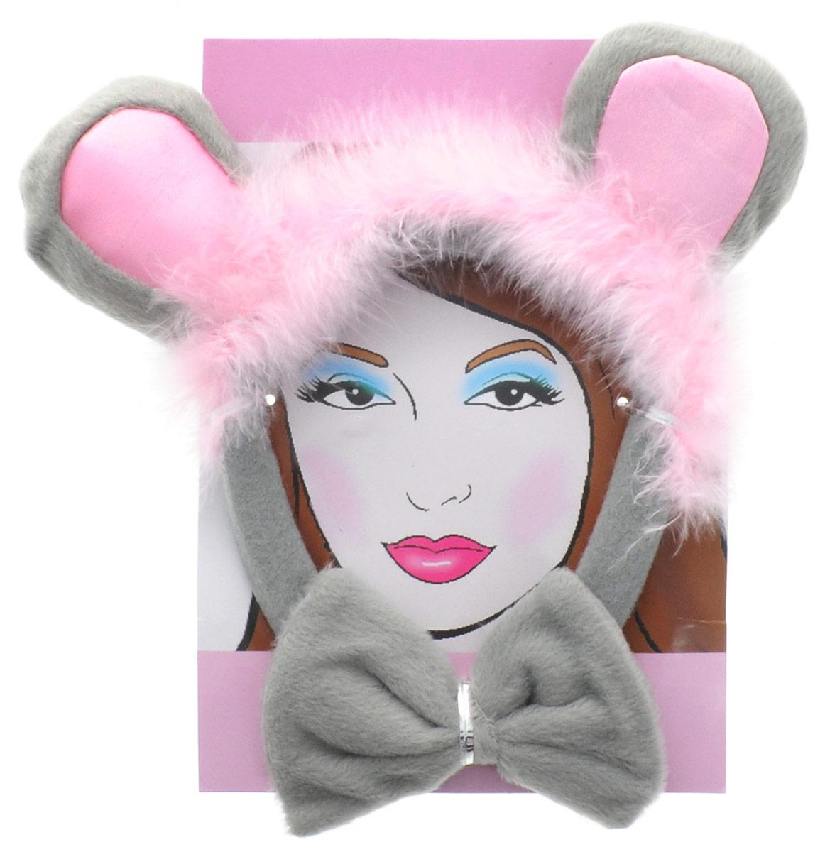 Partymania Ободок Кошачьи ушки с бабочкой цвет серый розовый