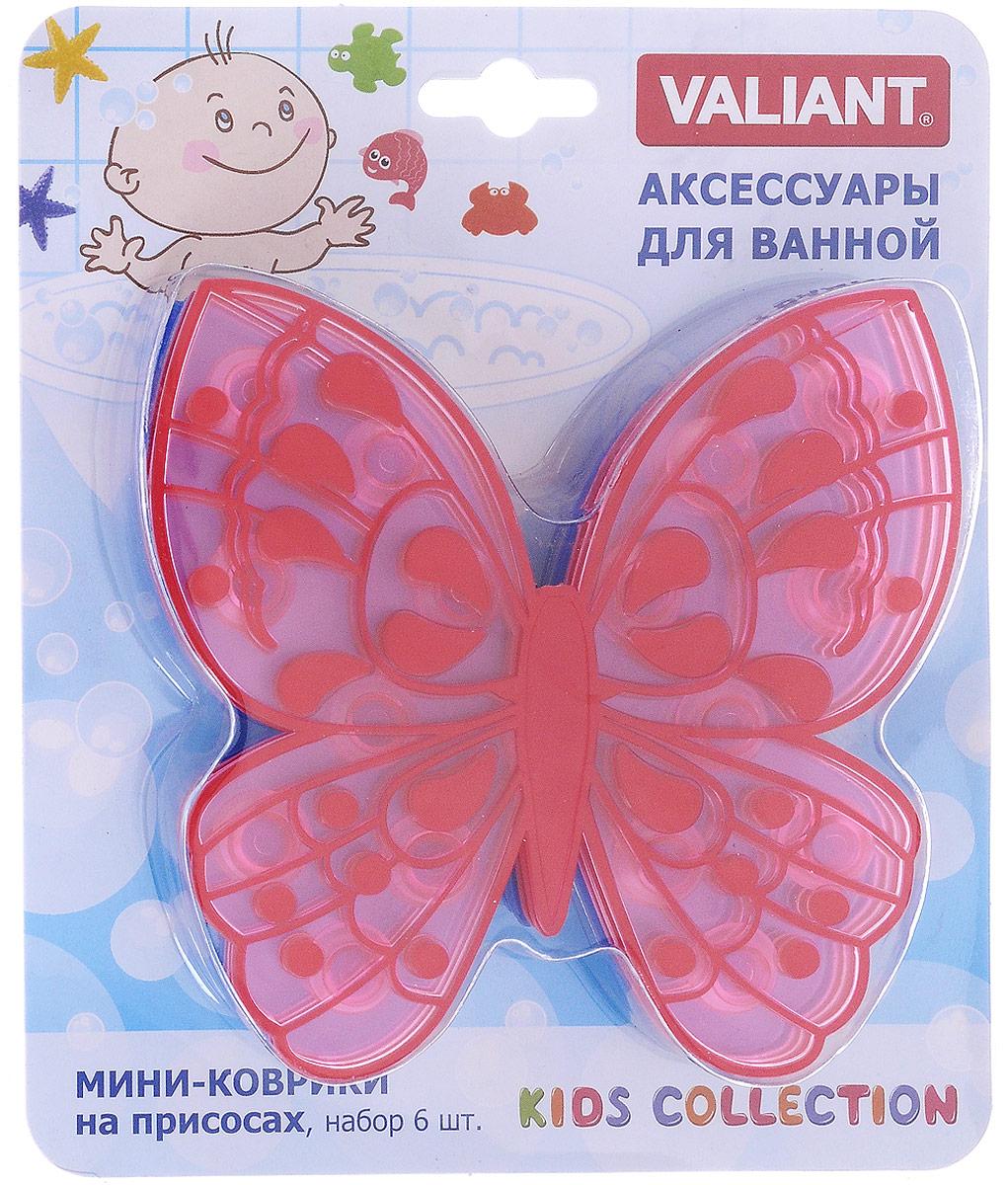 Valiant Мини-коврик для ванной комнаты Бабочка на присосках 6 шт
