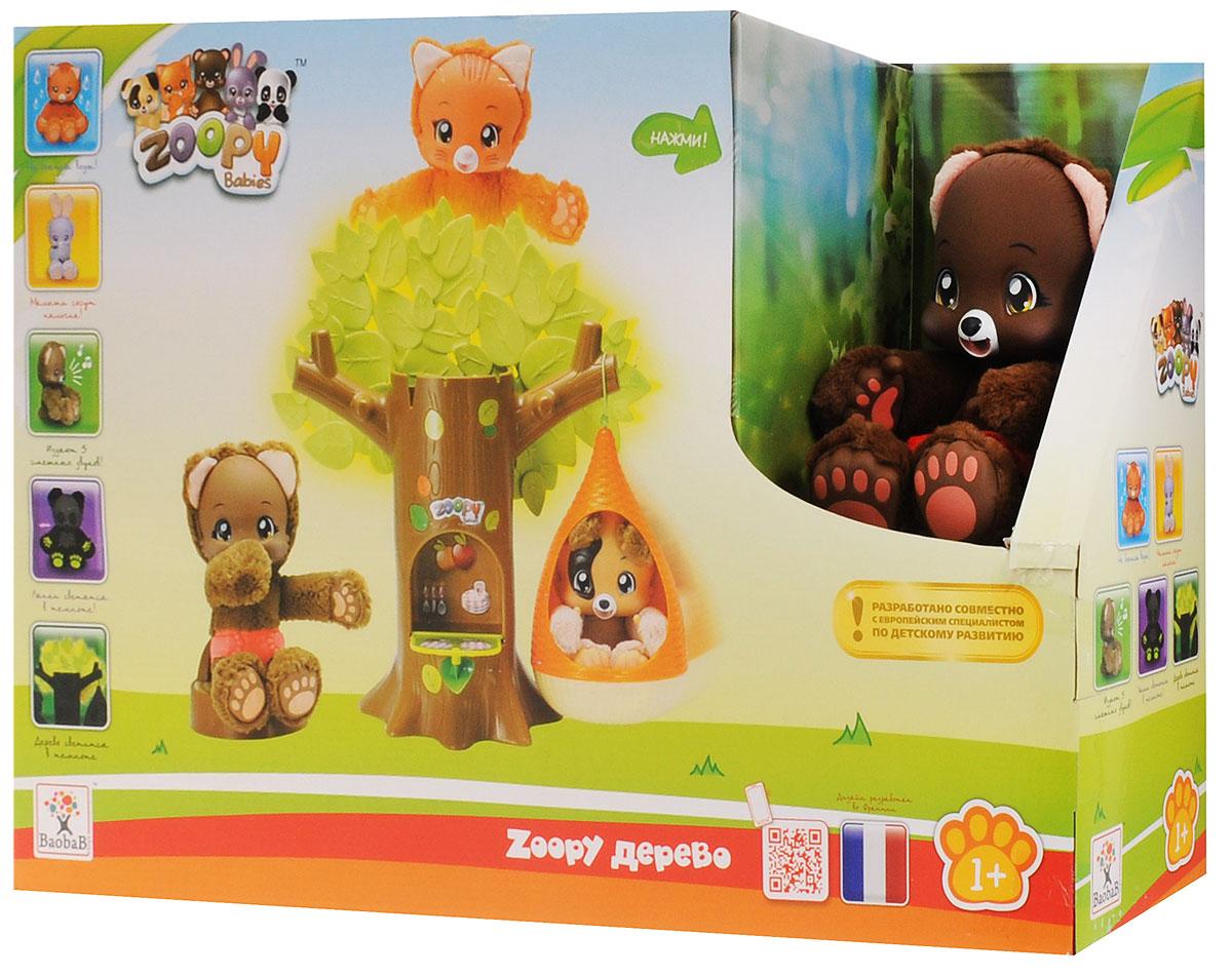 Zoopy функциональный набор дерево с гнездом с аксессуарами на липучках, и питомцем Мишкой 23 см - 3