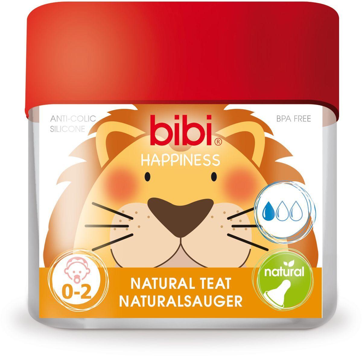 Bibi Соска силиконовая для бутылочки Bibi Happiness от 0 до 2 месяцев 2 шт