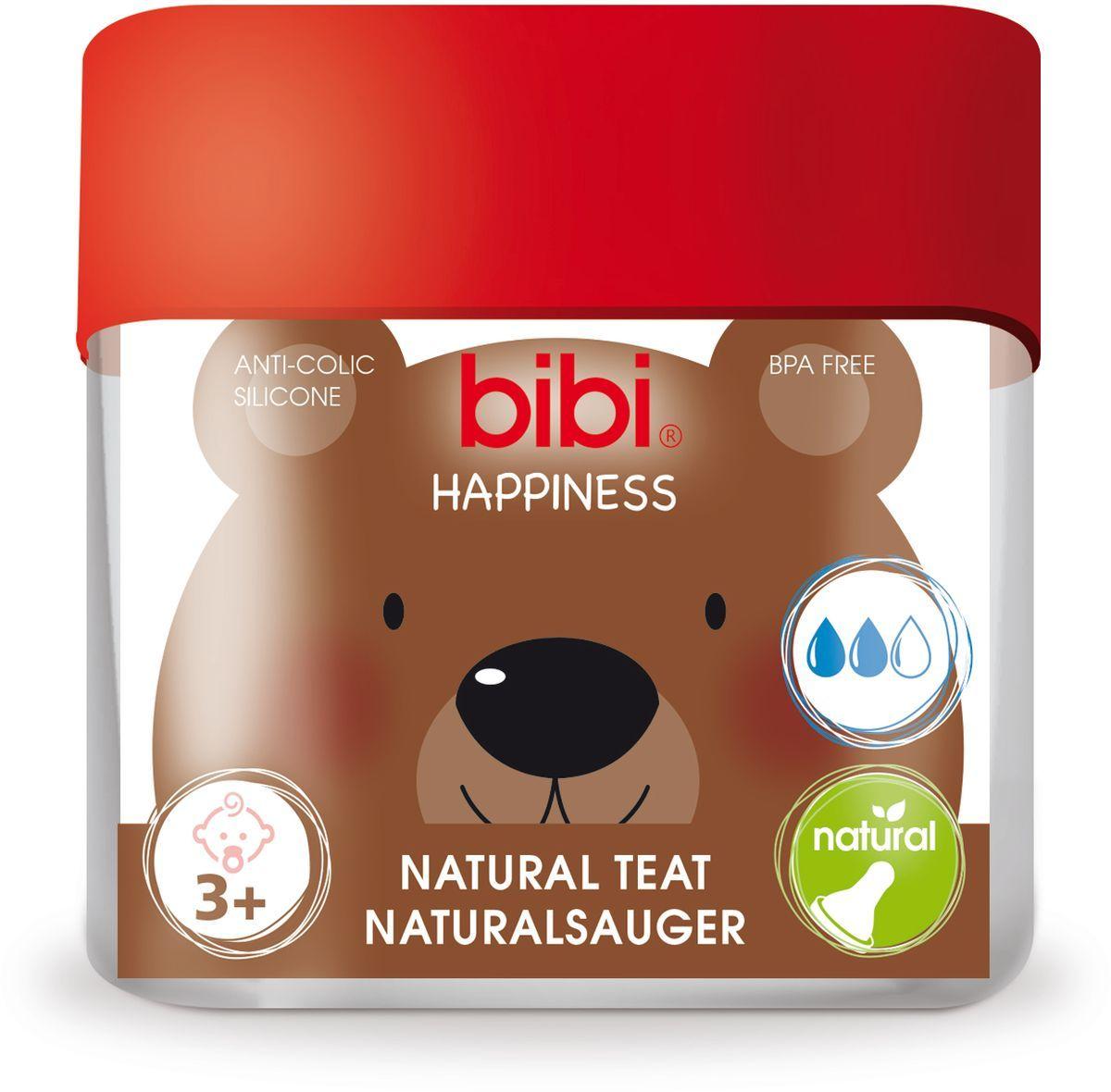 Bibi Соска силиконовая для бутылочки Bibi Happiness от 3 месяцев 2 шт