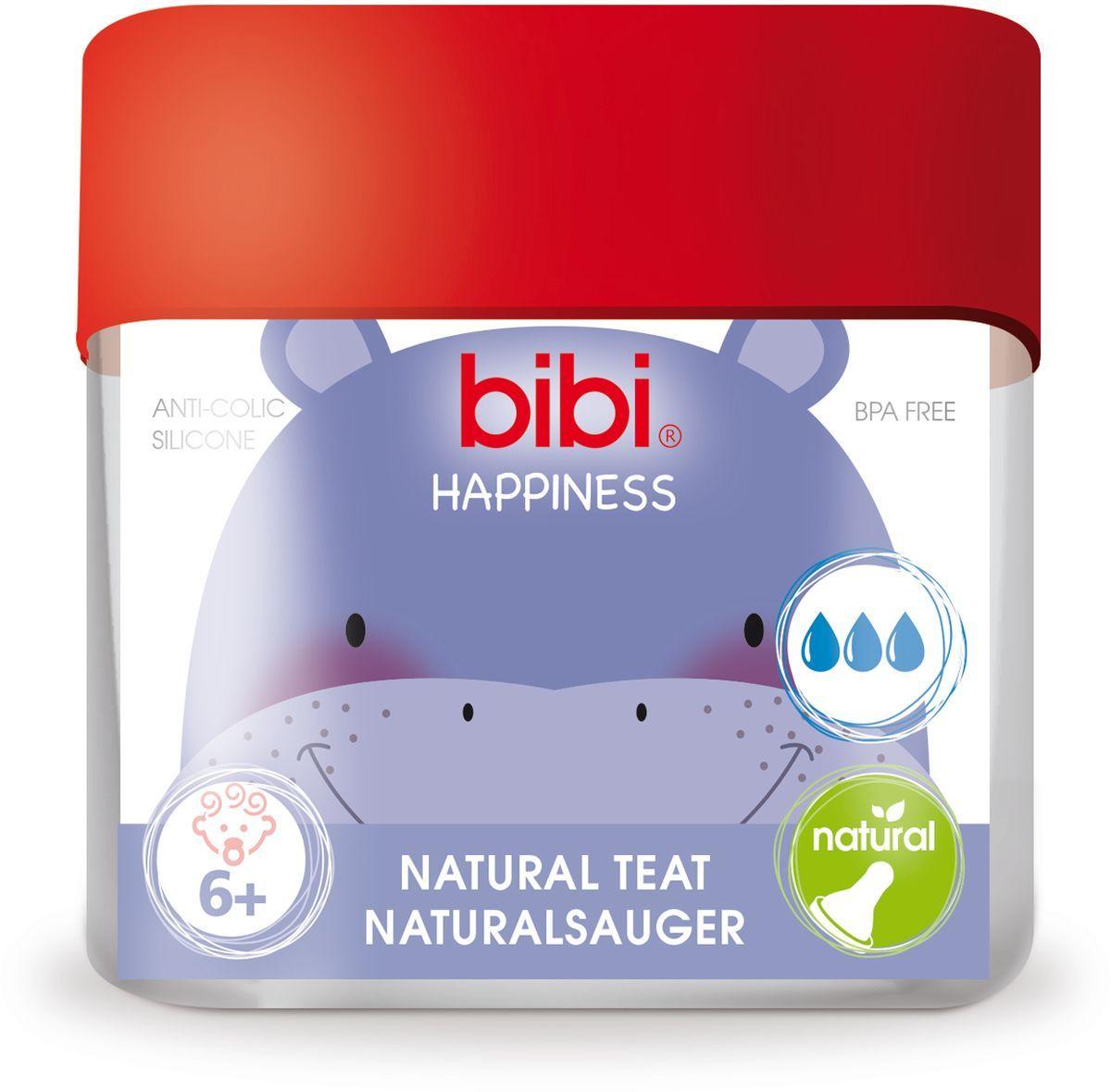 Bibi Соска силиконовая для бутылочки Bibi Happiness от 6 месяцев 2 шт