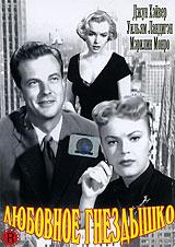 Любовное гнездышкоМэрилин Монро (Как выйти замуж за миллионера, В джазе только девушки), Джун Хэвер (Сестры Долли) и Уильям Ландигэн (Морской ястреб, Додж-Сити) в фильме Джозефа Ньюмэна Любовное гнездышко. Вернувшись из армии к любимой жене (Джун Хэвер), журналист и писатель Джим Скотт (Уильям Ландигэн) обнаружил, что жена решила приобрести полуподвальное помещение, чтобы создать в нем уютное любовное гнездышко. Но все оказывается не так просто! На молодоженов сваливаются заботы и проблемы связанные с ремонтом внутреннего убранства бывшего подвала, который использовался для хранения угля. Зато в новом доме молодых окружают очень милые соседи, а особенно хороша белокурая Роберта (Мэрилин Монро), которая охотно строит глазки Скотту. Тем временем пока идет благоустройство гнездышка Чарли Паттерсон (Фрэнк Фэй) - профессиональный брачный аферист вовлекает всех жителей дома в свои аферы... Но все закончится хорошо! Жулик будет арестован, он раскается в содеянном, и разрешит Скоту...