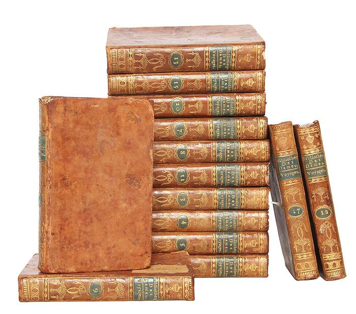 Универсальная библиотека для дам: Путешествия (комплект из 14 книг)1562Париж, 1785-1791 гг. Rue dAnjou, Serpente, Rue dAnjou-Dauphine. Владельческие цельнокожаные переплёты с золотым тиснением на корешке. Сохранность хорошая. Отсутствуют тома 2, 10, 14, 16, 18, 19. В серии Универсальная библиотека для дам (1785-1797) вышло около 156 томов. Универсальная библиотека для дам дам была задумана как собрание работ, позволяющее обеспечить общее образование, в легко доступной форме для женщин определенного класса; в серии можно было найти все, что может представлять полезные и нужные знания: путешествия, история, философия, художественная литература, наука и искусство. Двадцать томов коллекции были посвящены путешествиям по странам мира, за исключением Американского континента и Европы. Они включают описания древних и современных путешествий в разные концы мира, опубликованные как на французском, так и на иностранных языках. Приводятся краткие выдержки из впечатлений путешественников и...