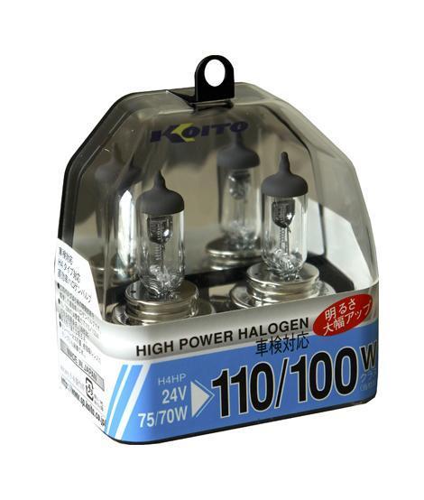 Комплект галогеновых ламп Koito Whitebeam H4, 24V, 70/75W, 2 штS03301004Комплект галогеновых ламп Koito Whitebeam H4, 24V, 70/75W, 2 шт - обладают ярким эффектным светом и компактными размерами. У лампы есть большой запас срока службы. Способна выдержать большое количество включений и выключений.Напряжение: 24 вольт