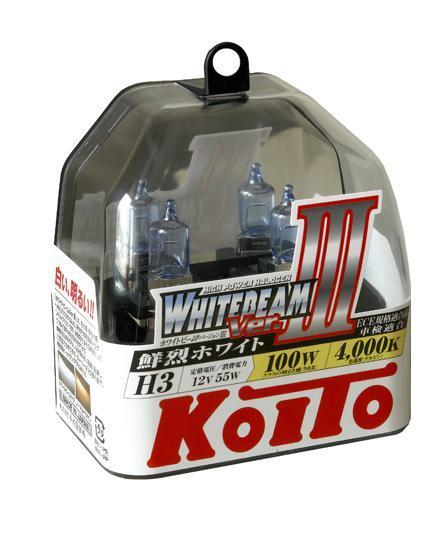 Лампа высокотемпературная Koito Whitebeam H3 12V 55W (100W) 2 шт P0752Wкн12-60авцЯпонская компания KOITO - мировой лидер по производству автомобильных ламп и оптики. Компания основана в 1915 году и в настоящее время входит в корпорацию TOYOTA GROUP и имеет представительства и совместные предприятия по всему миру. Продукция KOITO широко применяется не только для автомобилей, но и для железнодорожных подвижных составов, авиационного и морского транспорта. Компания KOITO выпускает все разновидности лампочек, начиная от ламп головного света и заканчивая подсветкой салона и приборов, для абсолютно всех моделей японских автомобилей и мотоциклов. Компания KOITO выпускает все разновидности ламп и предохранителей для всех моделей японских автомобилей, а также широкий ассортимент для европейских и американских автомобилей. В ассортименте KOITO есть как лампы стандартной комплектации, так и лампы особых серий, таких как VWHITE и WHITEBEAM. Лампы особых серий VWHITE и WHITEBEAM обеспечивают удвоенную яркость при стандартной мощности. Эти лампы соответствуют всем нормам и стандартам, в том числе, и по потребляемой мощности. Эти лампы называются высокотемпературными, потому что при их работе цветовая температура газа достигает 4200 Кельвинов. При этом температура нагрева ламп не превышает допустимые производителем стандартные значения. Выдающиеся качество и надежность лампочек KOITO проверены в таких известных автомобильных состязаниях, как ралли «Париж - Дакар» и 24 - часовые гонки «Ле Манн» и подтверждаются доверием ведущих мировых производителей автомобилей. Напряжение: 12 вольт
