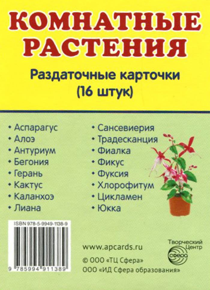 Комнатные растения (набор из 16 карточек)