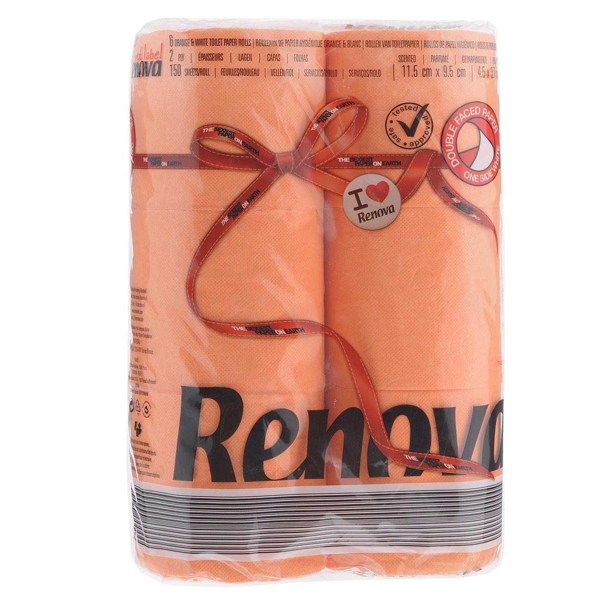 Туалетная бумага Renova, двухслойная, ароматизированная, цвет: оранжевый, 6 рулонов391602Туалетная бумага Renova изготовлена по новейшей технологии из 100% ароматизированной целлюлозы, благодаря чему она имеет тонкий аромат, очень мягкая, нежная, но в тоже время прочная. Эксклюзивная двухсторонняя туалетная бумага Renova  экстрамодного цвета, придаст вашему туалету оригинальность. Состав: 100% ароматизированная целлюлоза.Количество листов: 150 шт. Количество слоев: 2. Размер листа: 11,5 см х 9,5 см. Количество рулонов: 6 шт. Португальская компания Renova является ведущим разработчиком новейших технологий производства, нового стиля и направления на рынке гигиенической продукции.Современный дизайн и высочайшее качество, дерматологический контроль - это то, что выделяет компанию Renova среди других производителей бумажной санитарно-гигиенической продукции.