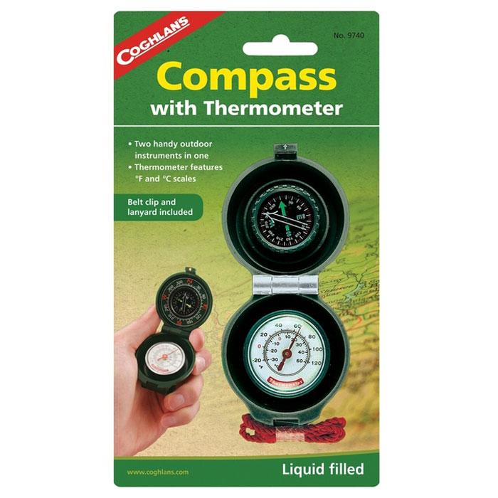 Компас с термометром COGHLANS88Coghlans 9740 - компас с термометром. Компас заполнен жидкостью и имеет циферблат с люминофорнымэффектом. Термометр снабжён двумя шкалами для определения температуры окружающей среды в градусахЦельсия и Фаренгейта. Корпус устройства изготовлен из прочного пластика, имеет клипсу для ремня и шнур.Изготовлено на специализированном предприятии.