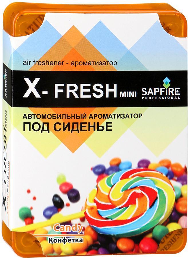 Ароматизатор под сиденье автомобиля Sapfire X-Fresh Mini, конфетка4627087520571Гелевый ароматизатор Sapfire X-Fresh обладает чудесным ароматом и эффективно нейтрализует все неприятные запахи, надолго сохраняет в воздухе ощущение свежести. Благодаря высококачественным компонентам и экономичному дизайну ароматизатор имеет широкий спектр применения: его можно установить в любом удобном для вас и незаметном месте