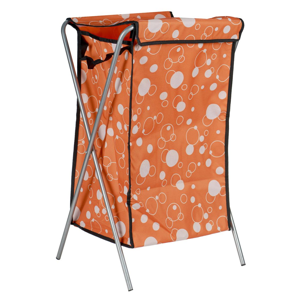 Корзина для белья Пузыри, цвет: оранжевый, 40 см х 40 см х 65 см106-029Корзина для белья изготовлена из высококачественного цветного полиэстера, декорированаярким красочным рисунком и предназначена для сбора и хранения вещей перед стиркой.Корзина имеет алюминиевый складывающийся каркас. Компактная и легкая, она не занимаетмного места, аккуратно хранит белье. Изделие оснащено крышкой из полиэстера.Такая корзина станет незаменимым аксессуаром ванной комнаты.