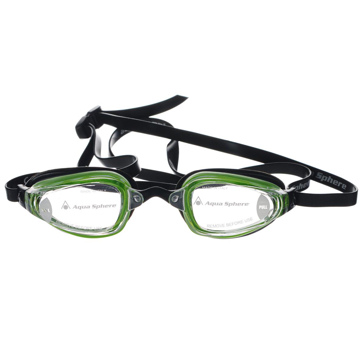Очки для плавания Aqua Sphere K180+, цвет: зеленый, черный, прозрачный527Очки для плавания Aqua Sphere K180+ спроектированы специально для тренировок на открытой воде и соревнований. Плотное прилегание к лицу обеспечивает хорошую обтекаемость и скорость движения. Благодаря сменным перемычкам можно менять расстояние между линзами. Запатентованные изогнутые линзы дают прекрасный обзор на 180° - без искажений. Очки дают 100% защиту от ультрафиолетового излучения. В комплекте 3 сменных перемычки.