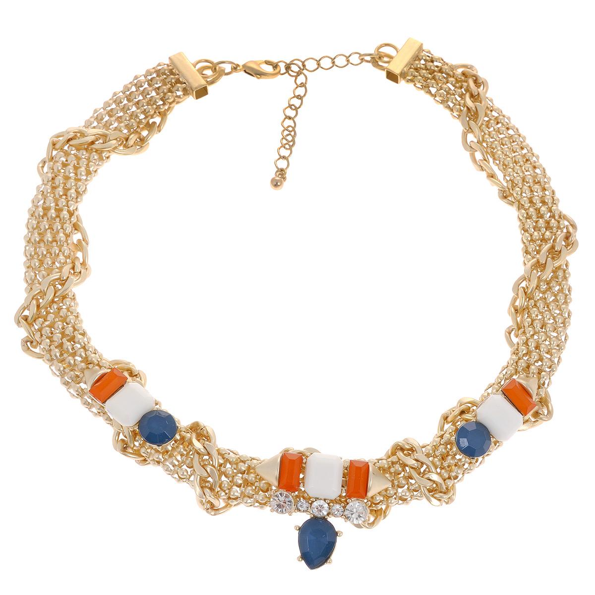 Ожерелье Avgad, цвет: золотистый, синий, оранжевый, слоновая кость. H-477S823Колье (короткие одноярусные бусы)Элегантное ожерелье Avgad выполнено из ювелирного сплава и дополнено тремя оригинальными элементами с вставками из ювелирного акрила. Ожерелье застегивается на практичный замок-карабин, длина изделия регулируется за счет дополнительных звеньев в цепочке.Такое ожерелье позволит вам с легкостью воплотить самую смелую фантазию и создать собственный, неповторимый образ.