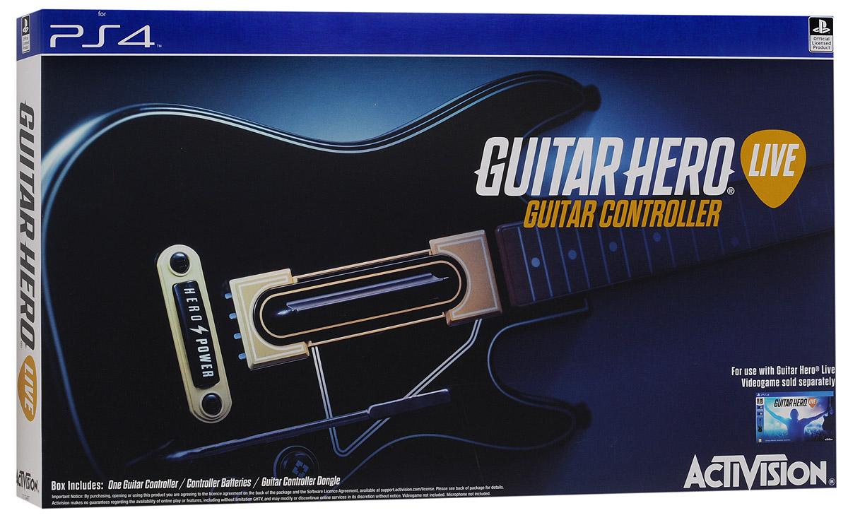 Guitar Hero Live Controller PS4. ГитараTHR47Игровой контроллер-гитара Guitar Hero Live Controller полностью отражает новый стиль и реалистичность игрыGuitar Hero Live. На грифе гитары расположено два ряда по 3 кнопки в каждом, что обеспечивает расширенныевозможности при воспроизведении аккордов. Также предусмотрено три уровня использования возможностейконтроллера: для начинающих, обычных и опытных игроков. Классическая форма гитары поможет вам показатьсвойталант во время игры!Если вы новичок, тогда можете использовать во время игры только три кнопки! Вы мастер Guitar Hero - тогда играпредоставит серьезные испытания для ваших пальцев!Кнопка GHTV (игровая музыкальная видеосеть) позволяет перейти прямо в GHTV из любой игры. Играя в режимеGH Live, игрок будет выступать на сцене и видеть толпу зрителей от первого лица, в зависимости от мастерстваисполнения, купаться в аплодисментах или видеть их недовольство Вы можете играть под сотни музыкальныхвидеоклипов из обширной библиотеки GHTV или соревноваться с друзьями в сети.Внимание: Гитара не является мультиплатформенным контроллером!