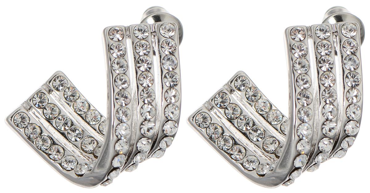 Серьги Taya, цвет: серебристый. T-B-712239859 Пуссеты (гвоздики)Стильные серьги Taya выполнены из металлического сплава и дополнены россыпью страз. Серьгизастегиваются на замок-гвоздик.Элегантные серьги помогут создать вам запоминающийсяобраз.