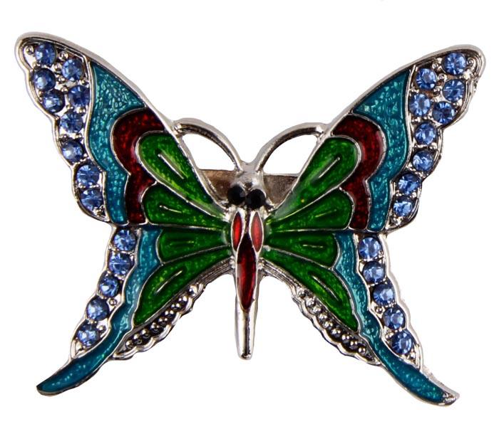 Брошь Цветная бабочка. Металл, полихромные эмали, кристаллыБрошь-булавкаБрошь Цветная бабочка. Металл, полихромные эмали, кристаллы. Корея, конец XX века.Размеры 5 х 4 см. Сохранность хорошая. Очаровательная яркая брошь, выполненная в виде небольшого серебристого мотылька. Аксессуар инкрустирован целой россыпью мелких сверкающих страз, украшен эмалью различных цветов.Эта изысканная брошь станет стильным украшением для романтичной и творческой натуры и гармонично дополнит Ваш наряд, станет завершающим штрихом в создании образа.
