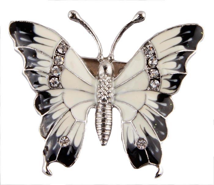 Брошь Прекрасная бабочка. Металл, полихромные эмали, кристаллыБрошь-булавкаБрошь Прекрасная бабочка. Металл, полихромные эмали, кристаллы. Корея, конец XX века.Размеры 5 х 4 см. Сохранность хорошая. Очаровательная брошь, выполненная в виде небольшого мотылька. Аксессуар инкрустирован целой россыпью мелких сверкающих страз, украшен эмалью черного и белого цвета.Эта изысканная брошь станет стильным украшением для романтичной и творческой натуры и гармонично дополнит Ваш наряд, станет завершающим штрихом в создании образа.