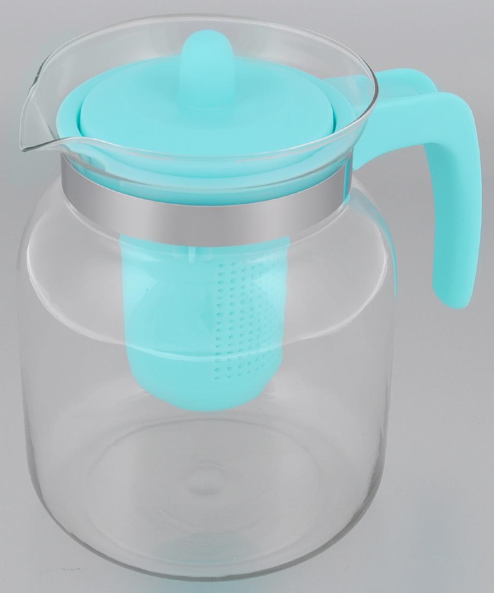 Чайник-кувшин Menu Чабрец, с фильтром, цвет: прозрачный, голубой, 1,45 лVT-1520(SR)Чайник-кувшин Menu Чабрец изготовлен из прочного стекла,которое выдерживает температуру до 100 °C. Он прекрасноподойдет для заваривания чая и травяных настоев. Классический стиль и оптимальный объем делают чайникудобным и оригинальным аксессуаром, который прекрасноподойдет для ежедневного использования. Ручка изделиявыполнена из пищевого пластика, она не нагревается иобеспечивает безопасность использования. Благодарясъемному ситечку и оптимальной форме колбы, чайник- кувшин Menu Чабрец идеально подходит для использованияего в качестве кувшина для воды и прохладительных напитков. Диаметр чайника по верхнему краю: 10,3 см. Общий диаметр чайника: 11 см. Высота чайника (без учета ручки и крышки): 15,6 см. Высота чайника (с учетом ручки и крышки): 17 см.