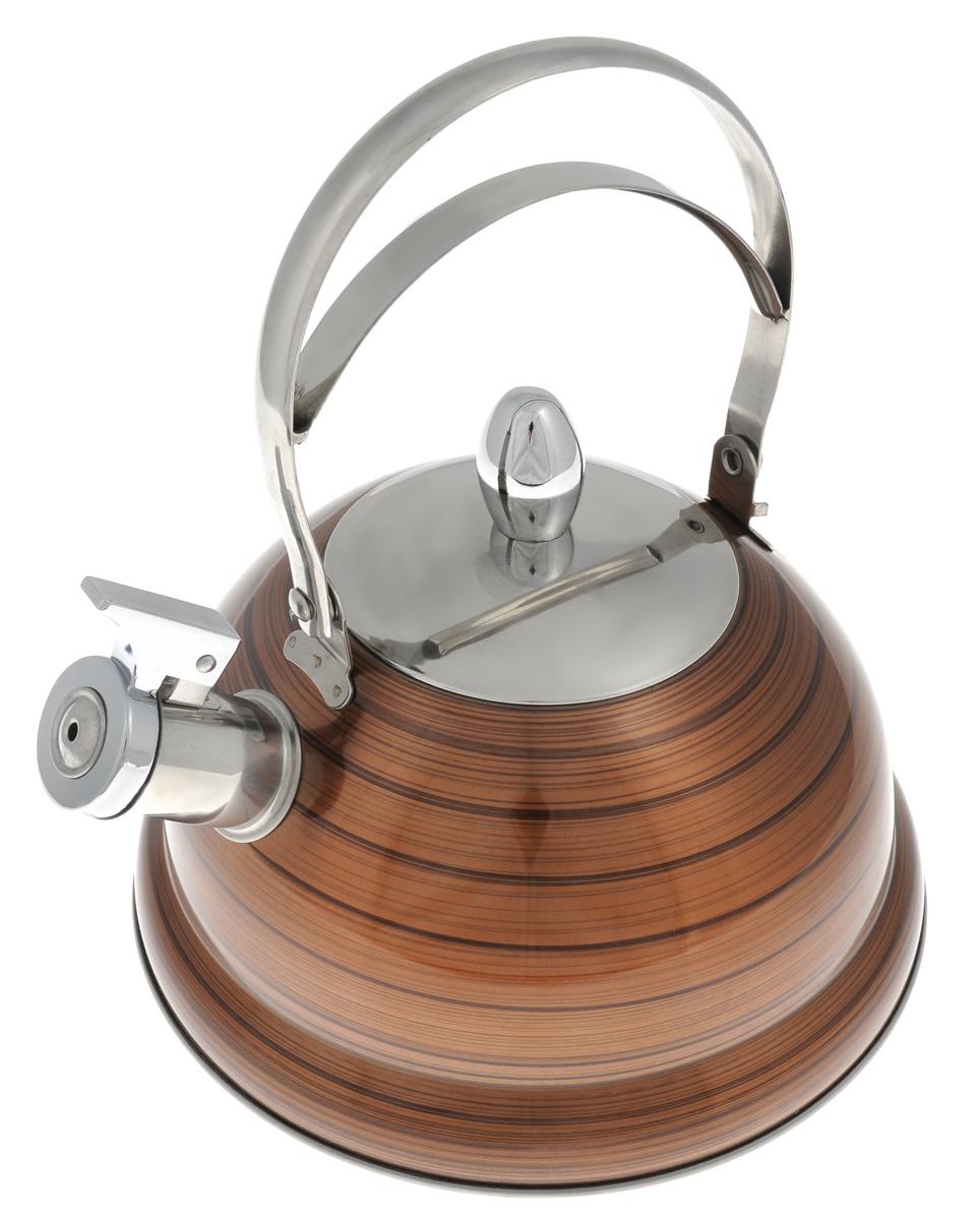 Чайник Bekker De Luxe, со свистком, цвет: коричневый, 2,6 л. BK-S408VT-1520(SR)Чайник Bekker De Luxe изготовлен извысококачественной нержавеющей стали 18/10 сцветным эмалевым покрытием. Капсулированноедно распределяет тепло по всей поверхности, чтопозволяет чайнику быстро закипать. Ручкаподвижная. Носик оснащен откидным свистком,который подскажет, когда вода закипела. Свистокоткрывается и закрывается с помощьюспециального рычага.Подходит для всех типов плит, включаяиндукционные.Можно мыть в посудомоечной машине. Диаметр (по верхнему краю): 10 см.Диаметр основания: 22 см.Высота чайника (без учета ручки): 13 см.